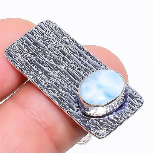 Caribbean Larimar Gemstone Ethnic Jewelry Ring Size 8 RR751