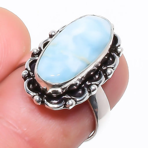 Caribbean Larimar Gemstone Ethnic Jewelry Ring Size 6.5 RR755