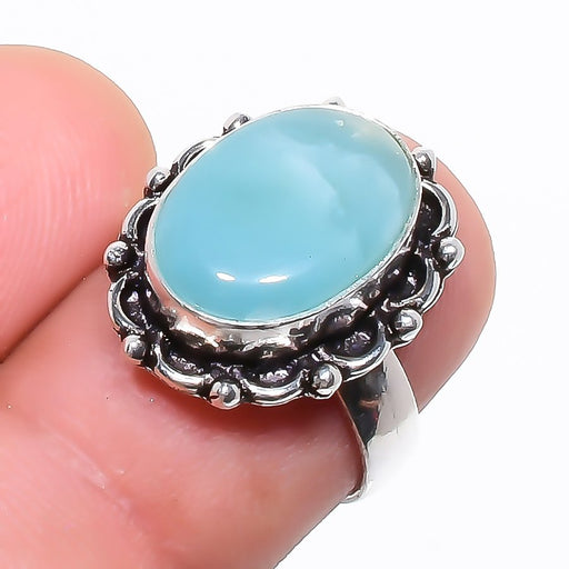 Caribbean Larimar Gemstone Ethnic Jewelry Ring Size 5.5 RR758