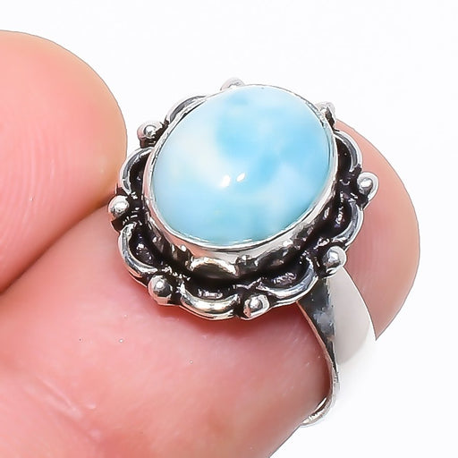 Caribbean Larimar Gemstone Ethnic Jewelry Ring Size 5.5 RR760