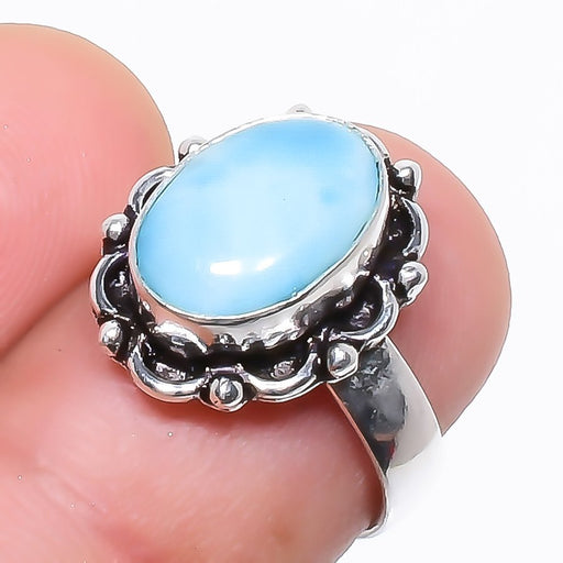 Caribbean Larimar Gemstone Ethnic Jewelry Ring Size 5.5 RR770