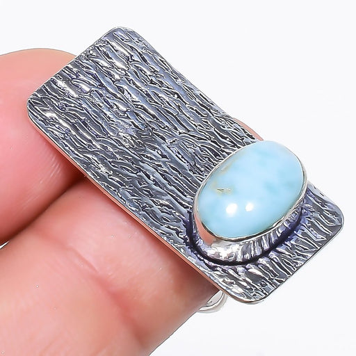 Caribbean Larimar Gemstone Ethnic Jewelry Ring Size 6.5 RR771
