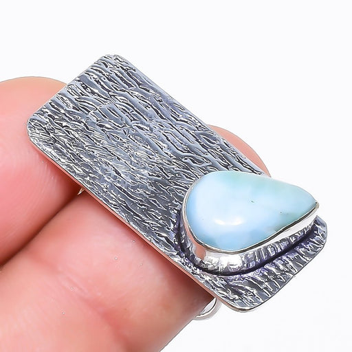 Caribbean Larimar Gemstone Ethnic Jewelry Ring Size 6.5 RR777