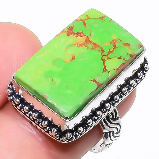 Copper Green Turquoise Gemstone Jewelry Ring Size 7 RR798