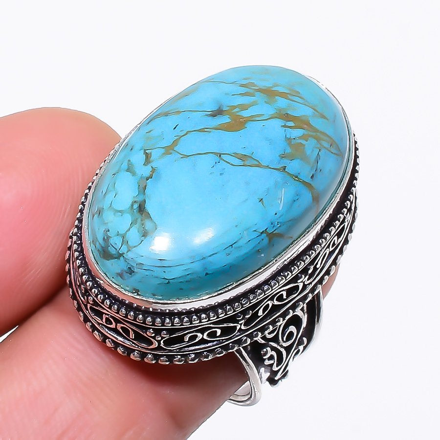 Copper Blue Turquoise Vintage Jewelry Ring Size 7 RR7