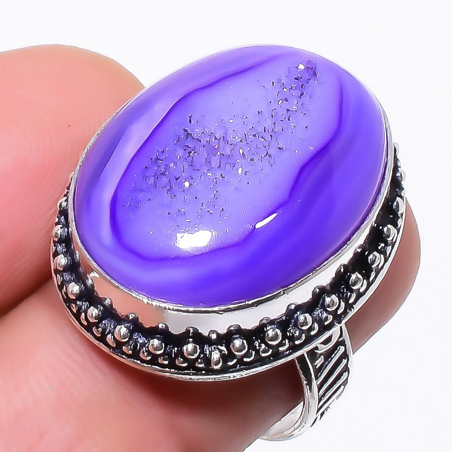 Purple Agate Druzy Gemstone Ethnic Jewelry Ring Size 7 RR84