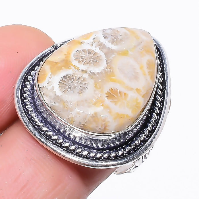Fossil Coral Gemstone Handmade Jewelry Ring Size 8 RR95