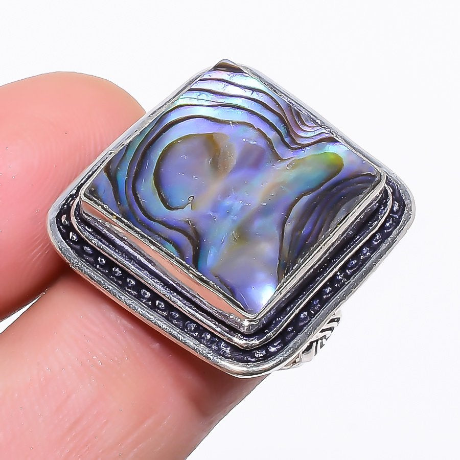 Abalone Shell Gemstone Handmade Jewelry Ring Size 7 RR99