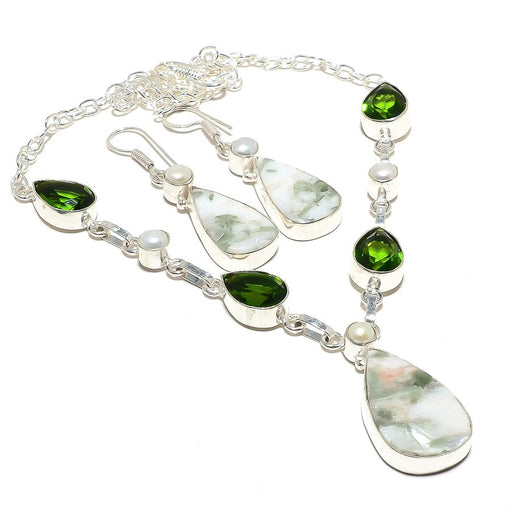 Green Aventurine, Peridot, Pearl Ethnic Jewelry Set RS100