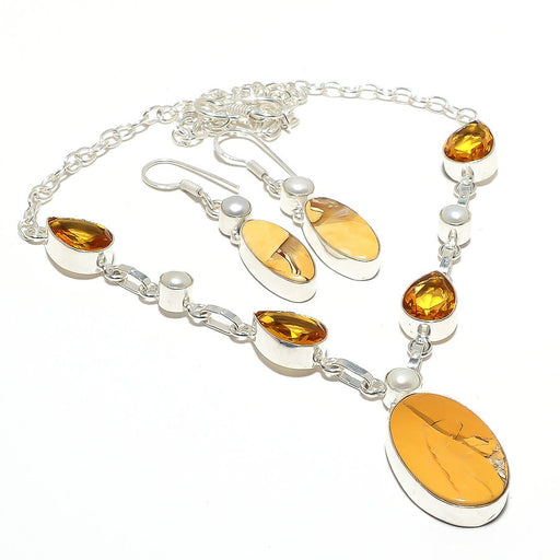Brecciated Mookaite, Citrine, Pearl Jewelry Set RS103
