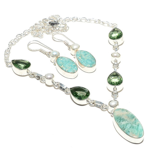 Amazonite, Green Amethyst Gemstone Jewelry Set RS104