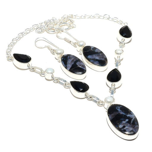 Boulder Black Opal, Black Onyx Gemstone Jewelry Set RS105