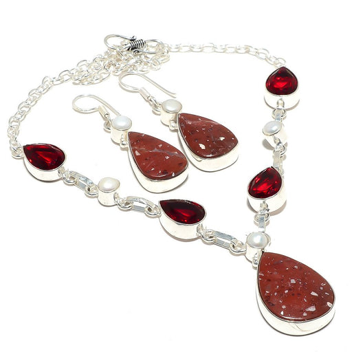 Red Jasper, Garnet, Pearl Gemstone Jewelry Set RS107