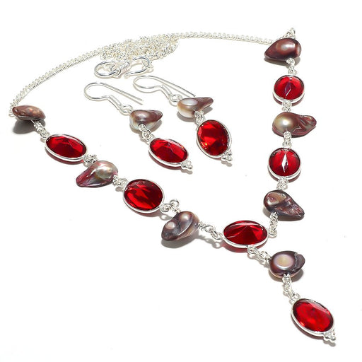 Garnet, Biwa Pearl Gemstone Handmade Jewelry Set RS110