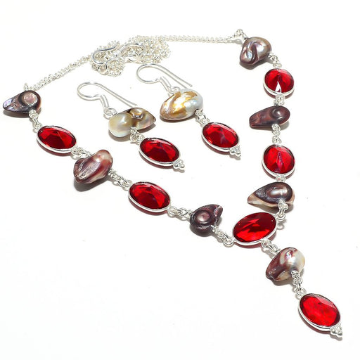 Garnet, Biwa Pearl Gemstone Handmade Jewelry Set RS112