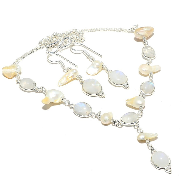 Rainbow Moonstone, Biwa Pearl Gemstone Jewelry Set RS113
