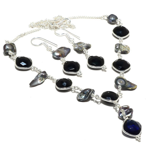 Sapphire, Black Onyx, Biwa Pearl Ethnic Jewelry Set RS115