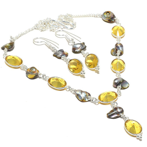Citrine, Biwa Pearl Gemstone Handmade Jewelry Set RS116
