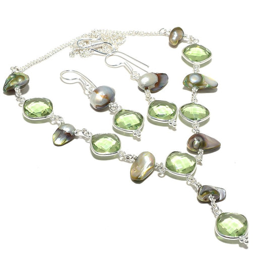 Green Amethyst, Biwa Pearl Gemstone Jewelry Set RS117