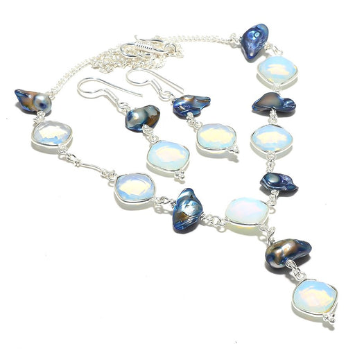 Milky Opal, Biwa Pearl Gemstone Ethnic Jewelry Set RS118