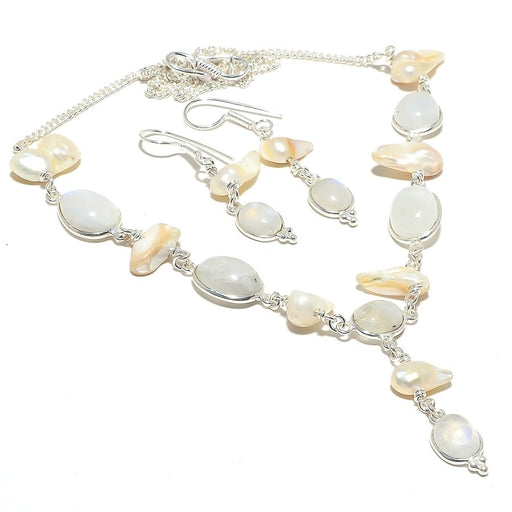 Rainbow Moonstone, Biwa Pearl Gemstone Jewelry Set RS119