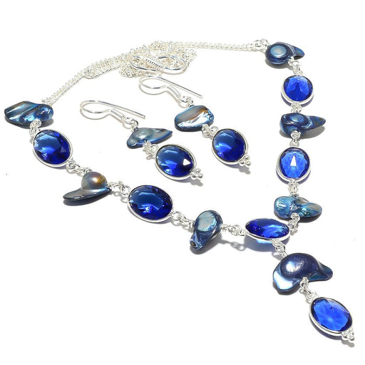 Blue Sapphire, Biwa Pearl Gemstone Jewelry Set RS120
