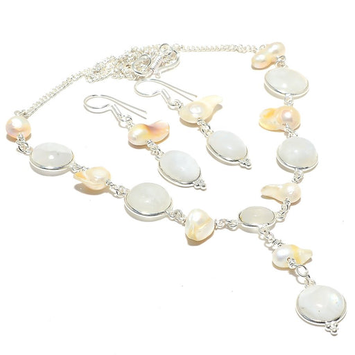 Rainbow Moonstone, Biwa Pearl Gemstone Jewelry Set RS121