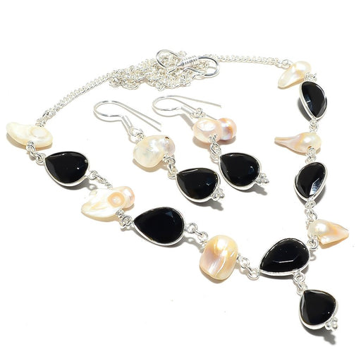 Black Onyx , Biwa Pearl Gemstone Ethnic Jewelry Set RS122