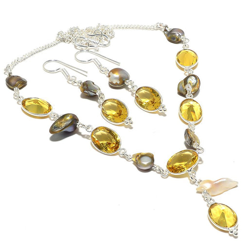Citrine, Biwa Pearl Gemstone Handmade Jewelry Set RS124