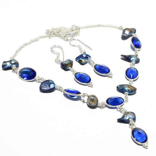 Blue Sapphire, Biwa Pearl Gemstone Jewelry Set RS125