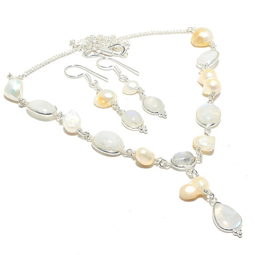 Rainbow Moonstone, Biwa Pearl Gemstone Jewelry Set RS126