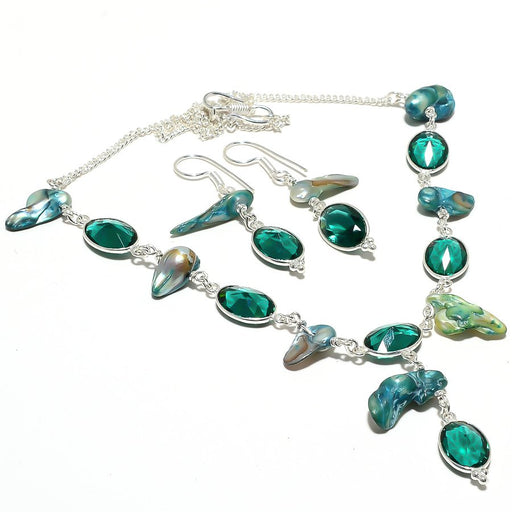 Chrome Diopside, Biwa Pearl Gemstone Jewelry Set RS128