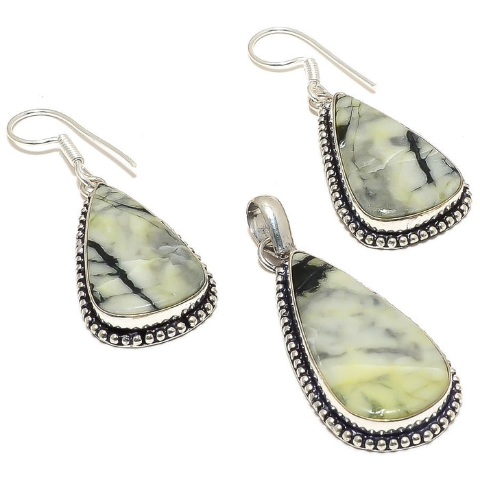 Silver Leaf Jasper Gemstone Handmade Jewelry Set RS1