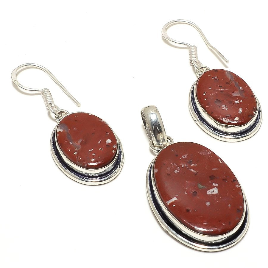 Red Jasper Gemstone Handmade Ethnic Jewelry Set RS21