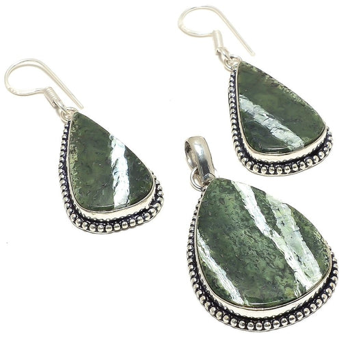 Banded Green Opal Gemstone Handmade Jewelry Set RS25