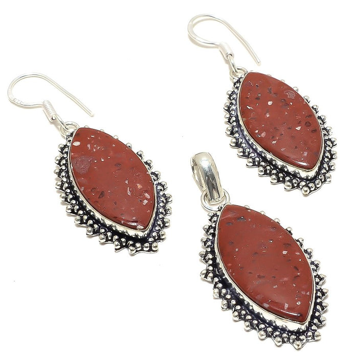 Red Jasper Gemstone Handmade Ethnic Jewelry Set RS27
