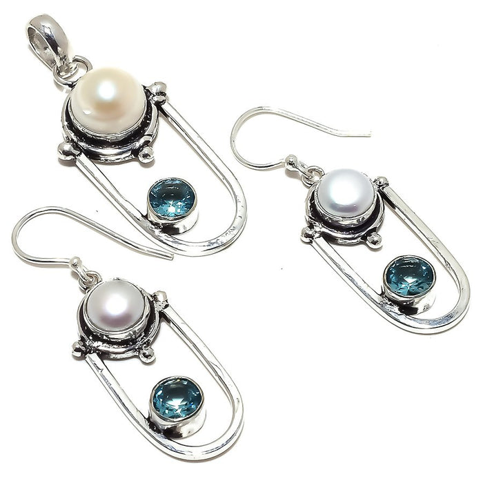 River Pearl, Blue Topaz Gemstone Ethnic Jewelry Set RS342
