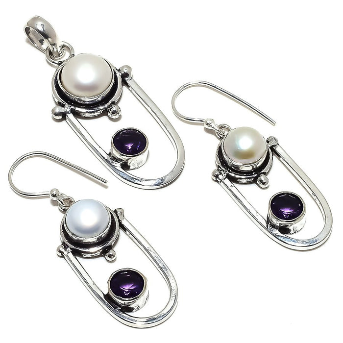 River Pearl, Amethyst Gemstone Handmade Jewelry Set RS345
