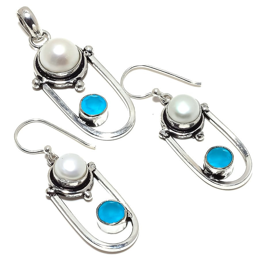 River Pearl, Chalcedony Gemstone Ethnic Jewelry Set RS351