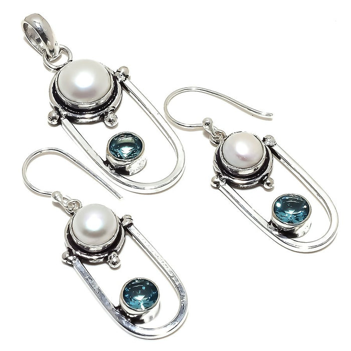 River Pearl, Blue Topaz Gemstone Ethnic Jewelry Set RS361