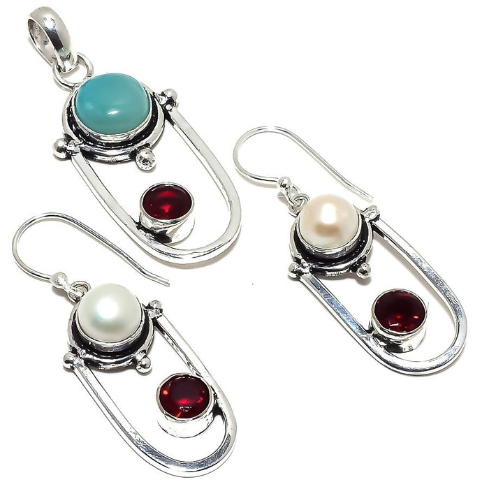 Larimar, Pearl, Garnet Gemstone Ethnic Jewelry Set RS362