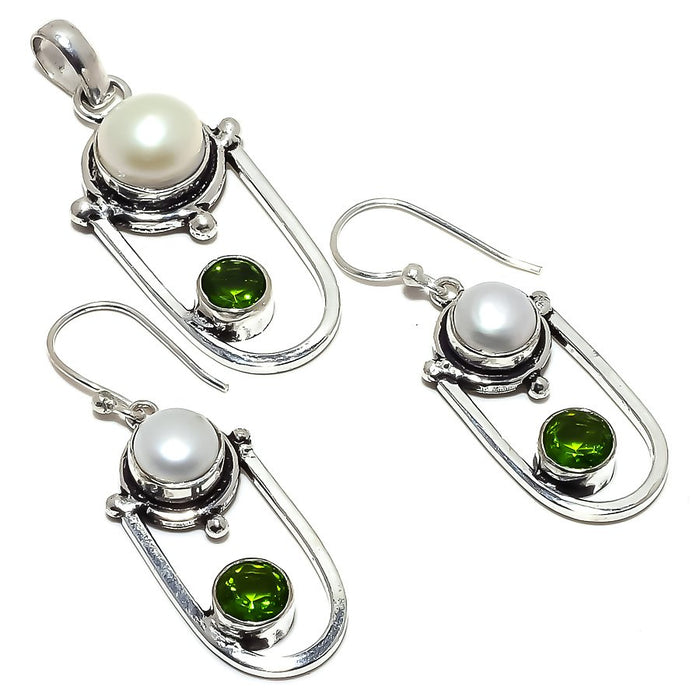 River Pearl, Peridot Gemstone Handmade Jewelry Set RS365