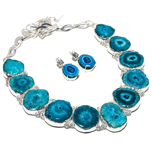 Blue Solar Quartz Druzy Gemstone Ethnic Jewelry Set RS368