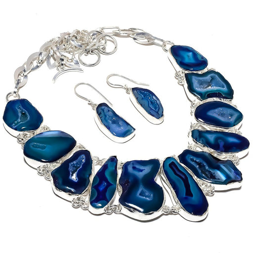 Blue Slice Agate Druzy Gemstone Ethnic Jewelry Set RS369