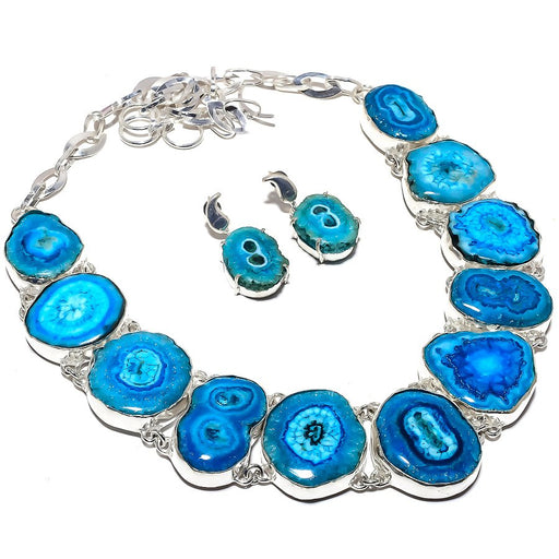 Blue Solar Quartz Druzy Gemstone Ethnic Jewelry Set RS370