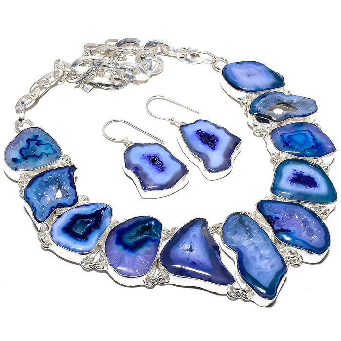 Blue Slice Agate Druzy Gemstone Ethnic Jewelry Set RS371