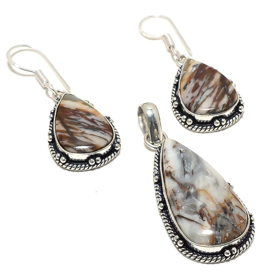Cappuccino Jasper Gemstone Handmade Jewelry Set RS43