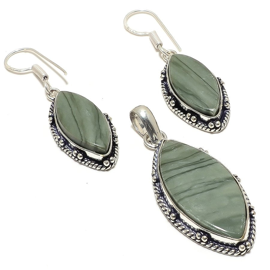 Green Polychrome Gemstone Handmade Jewelry Set RS46