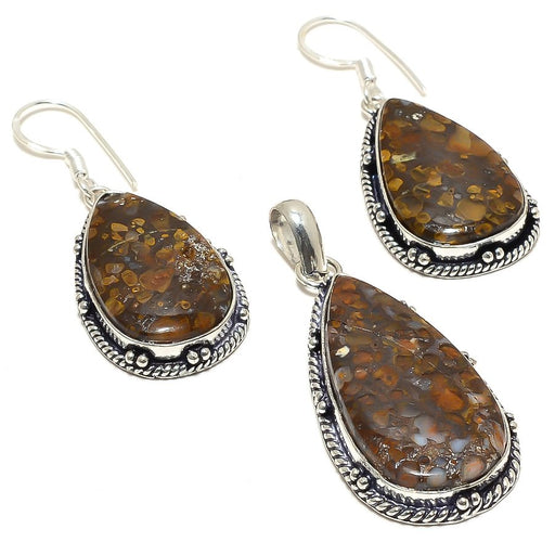 Boulder Opal Gemstone Handmade Ethnic Jewelry Set RS58