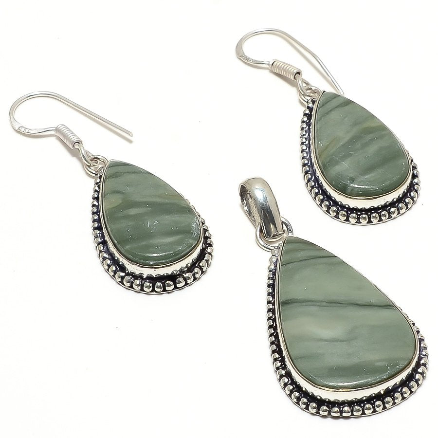 Green Polychrome Gemstone Handmade Jewelry Set RS59